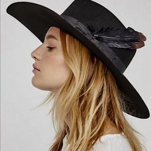 "Van Palma Wool Hat Feather Ribbon Wide 4.5"" Brim"